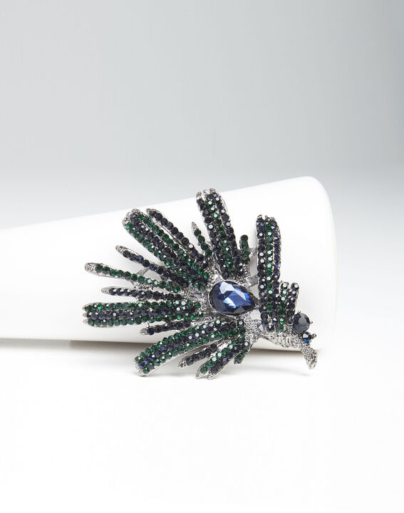 Xylo spike brooch with dark green stones (1) - Maison 123