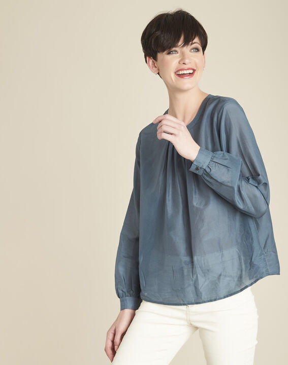 Carlota grey silk and cotton blouse PhotoZ | 1-2-3