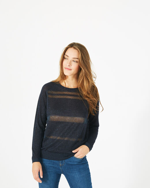 Precieux navy blue shiny sweater with rounded neckline (2) - 1-2-3