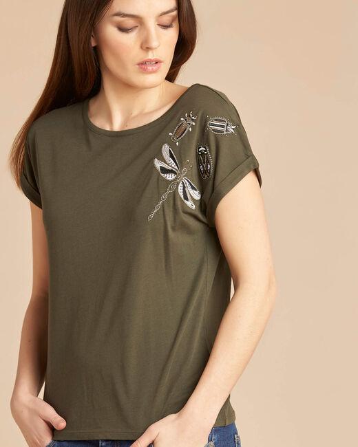 Khakifarbenes Kurzarm-T-Shirt mit Stickereien Epirrhoe (2) - 1-2-3