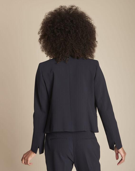 Marineblauw jasje uit microvezel en grove korrel Charme (4) - Maison 123