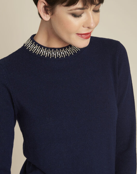 Bulle navy wool mix pullover with jewel collar (3) - 1-2-3