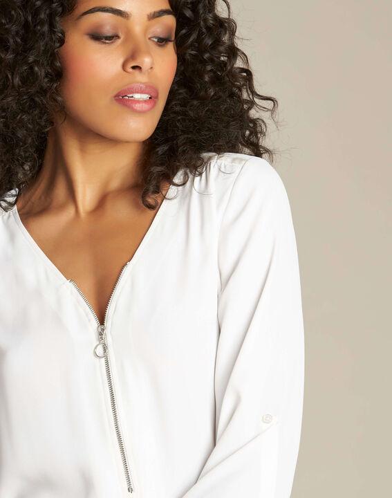 Ecrufarbene Bluse mit Reißverschluss-Ausschnitt Galia PhotoZ | 1-2-3