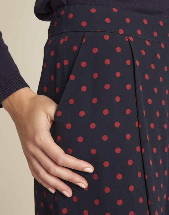 Donkerblauwe cropped broek met rode stippen Haley (3) - 37653