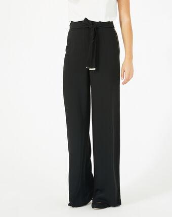 Pantalon noir de tailleur fluide avec ceinture voyou noir.