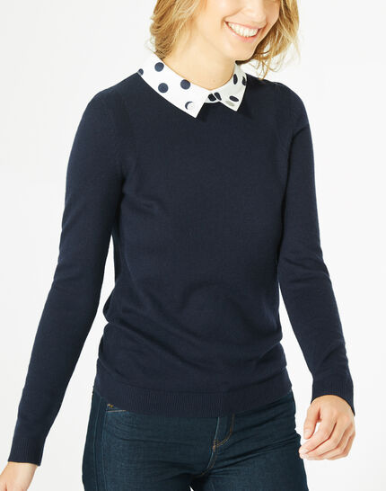 Poppy cashmere and wool navy blue sweater (3) - 1-2-3
