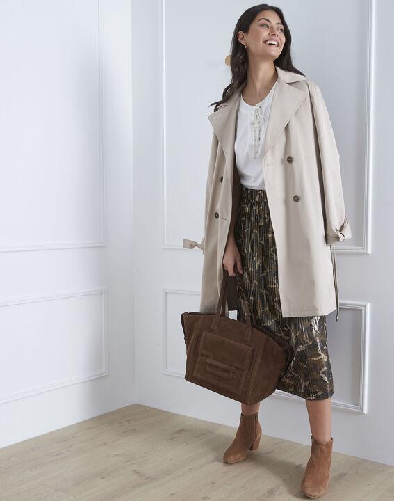 Jupe kaki plissée imprimé camouflage Sable (1) - Maison 123