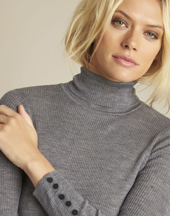 Basile grey fine-knit turtleneck pullover (3) - Maison 123