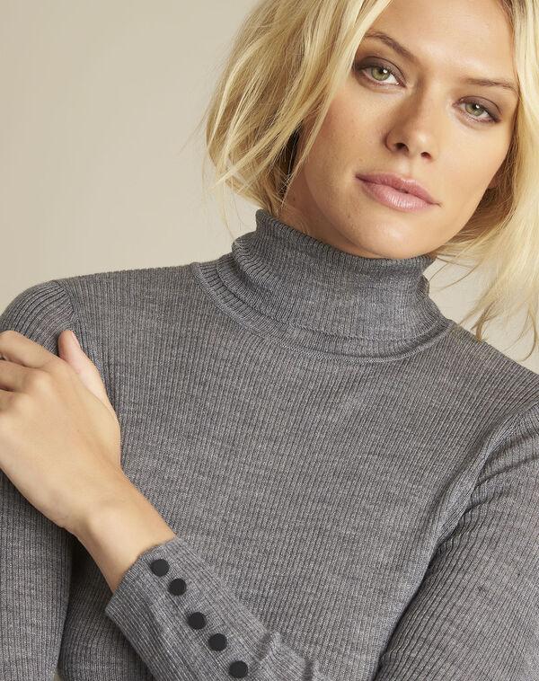 Grijze trui van fijn tricot met rolkraag Basile (2) - 37653