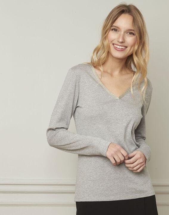 T-shirt gris encolure V lurex Etincelante (1) - Maison 123