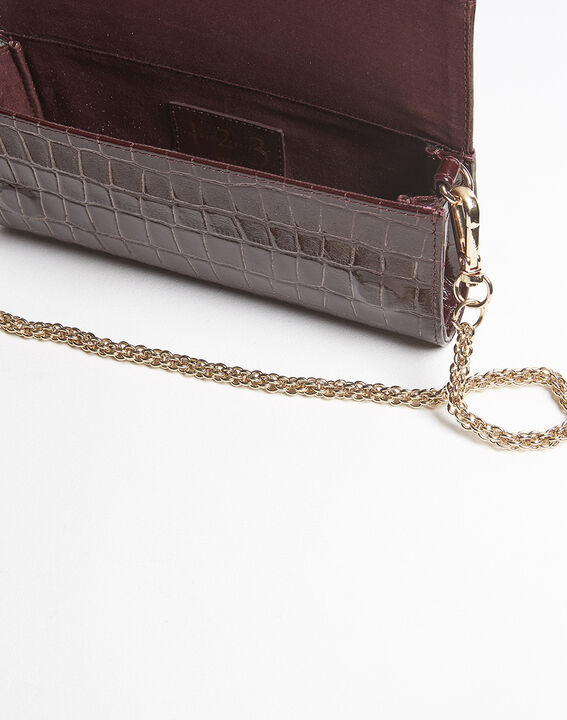 Isabelle crocodile effect red leather clutch bag (3) - 1-2-3