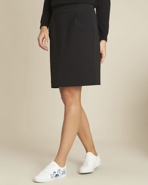 Leslie black straight-cut microfibre skirt (2) - 1-2-3