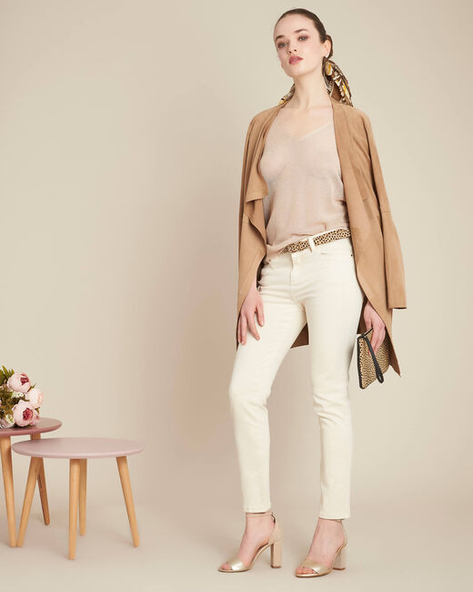 Noix short-sleeved fine-knit gold sweater (1) - 1-2-3
