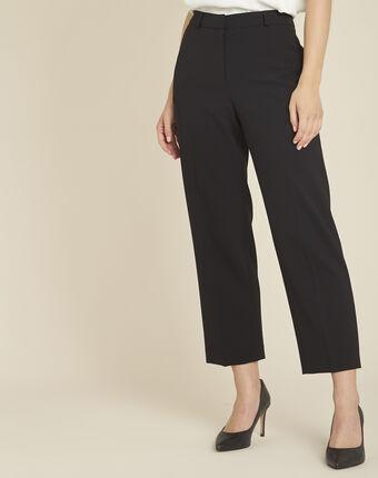 Pantalon noir large 7/8 en microfibre hermane noir.
