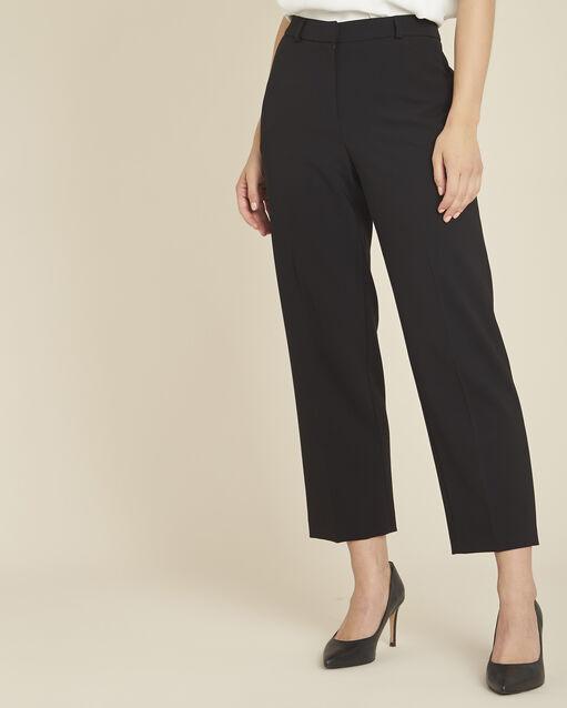 Pantalon noir large 7/8 en microfibre Hermane (1) - 1-2-3