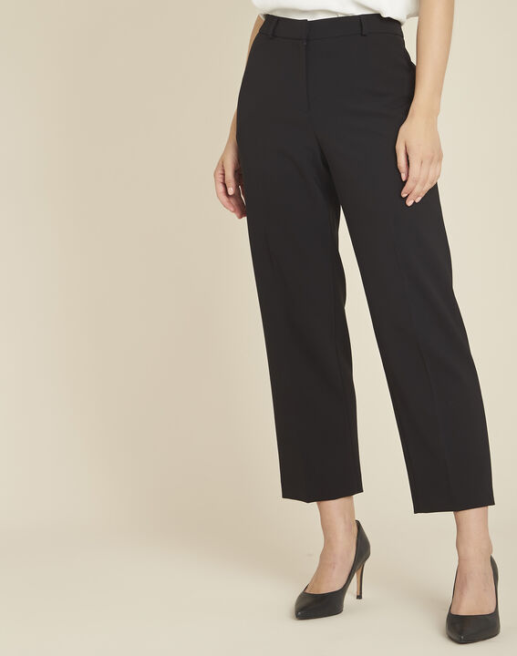Hermane wide-leg black 7/8 length trousers (1) - Maison 123