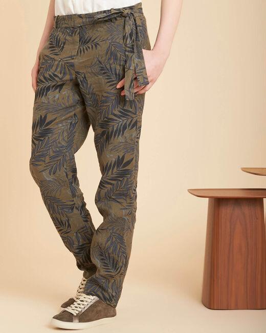 Pantalon cigarette kaki imprimé palme en lin Jill (2) - 1-2-3