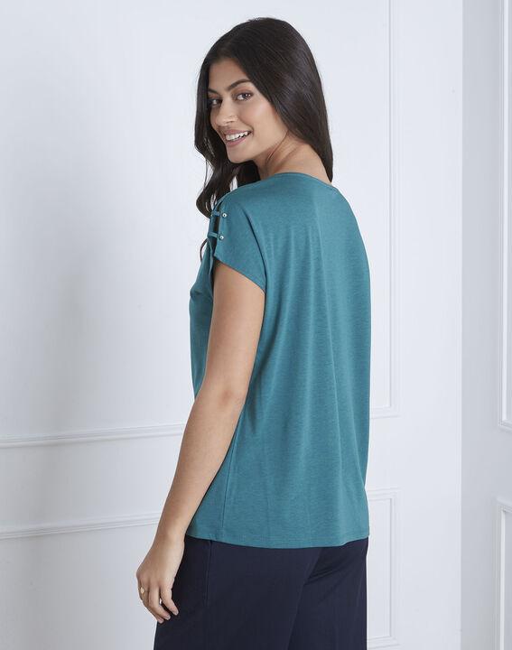 Tee-shirt vert détails épaules Palmbeach (4) - Maison 123