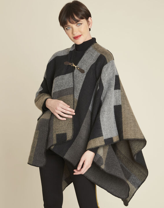Fidele anthracite checked poncho (1) - 1-2-3