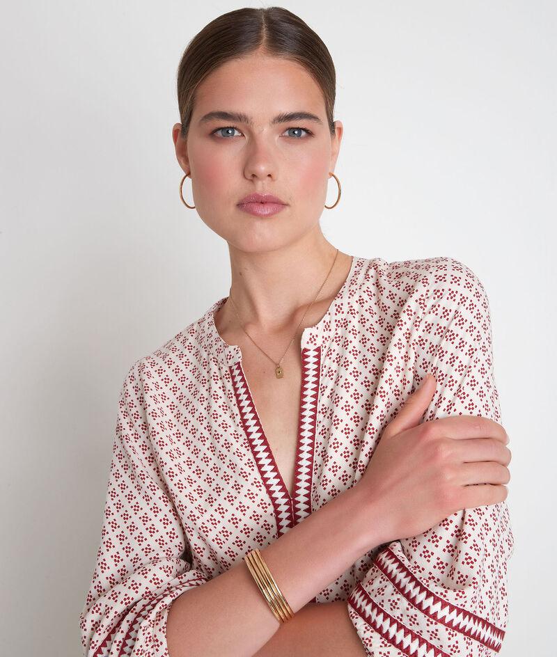 Robe courte et fluide imprimée écrue et bordeaux Suzanne PhotoZ | 1-2-3