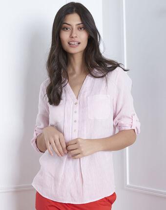 Roma pink linen shirt light pink.