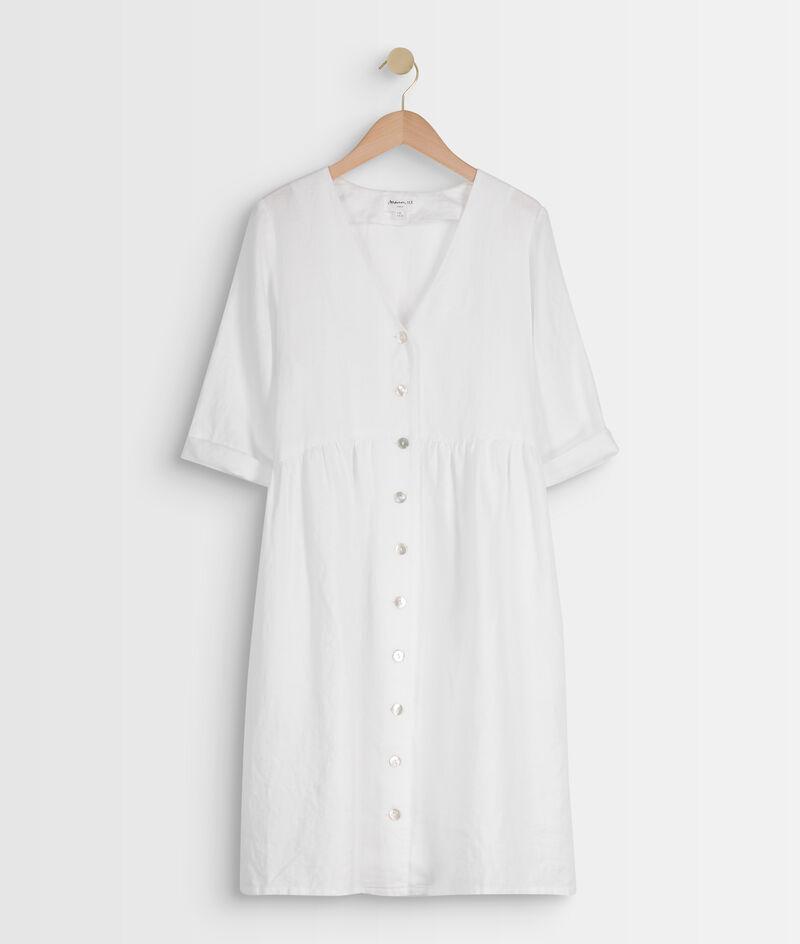 Robe en lin certifié boutonnée blanche Lalou PhotoZ   1-2-3