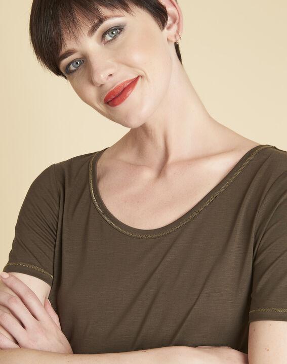 Tee-shirt kaki détails coutures dorées Glycel (3) - 1-2-3