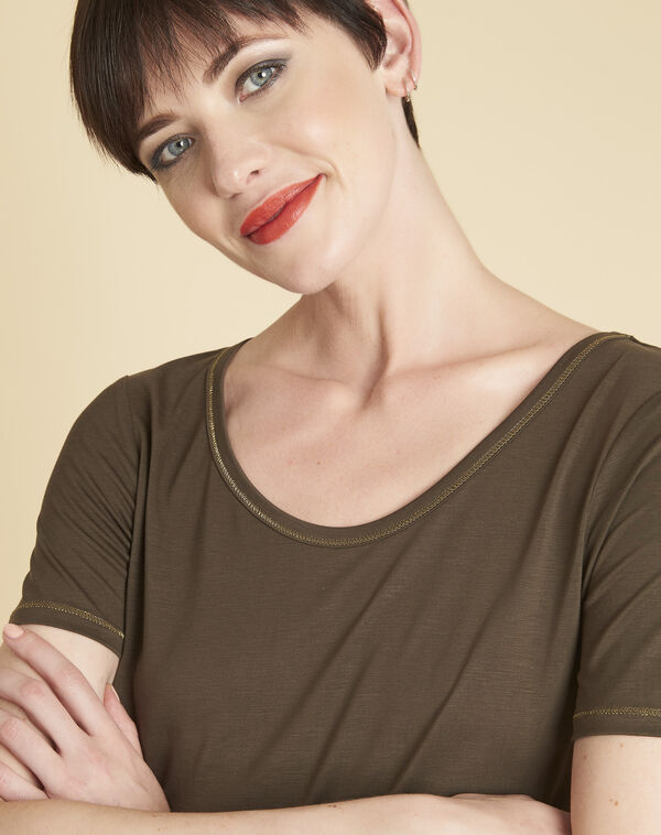 Glycel khaki T-shirt with golden threading (2) - 1-2-3