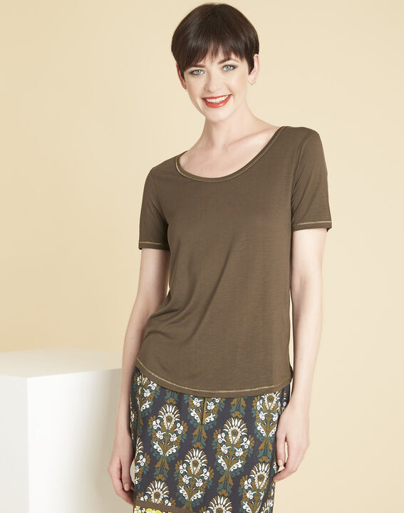 Glycel khaki T-shirt with golden threading PhotoZ | 1-2-3