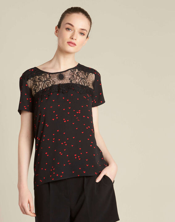 Go black heart printed top with lace (3) - 1-2-3