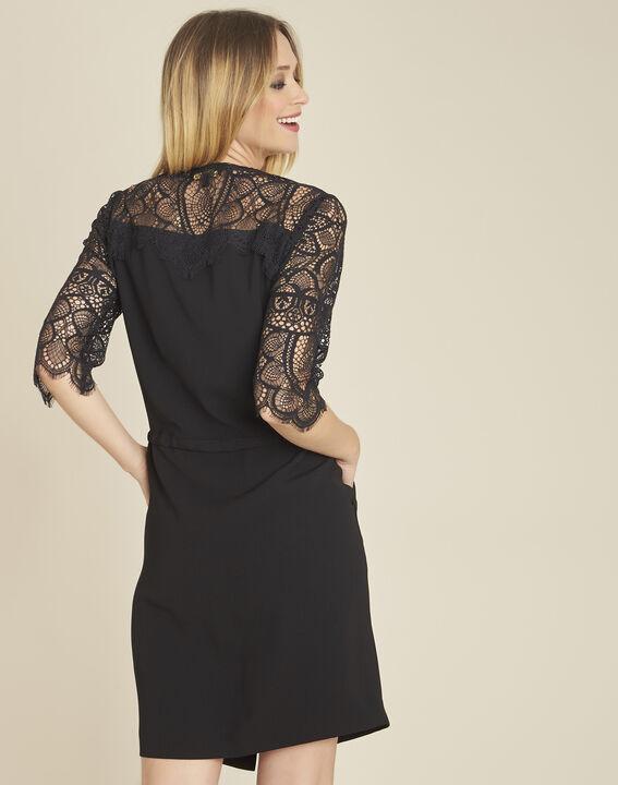 Schwarzes Kleid im Materialmix mit Spitzenärmeln Dune (4) - 1-2-3
