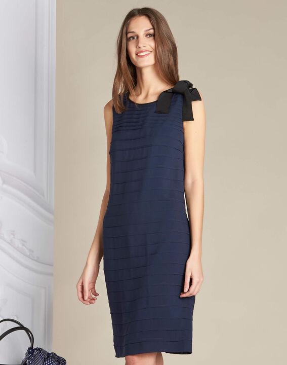 Marineblauwe jurk van zijde met volants Ines (4) - 37653