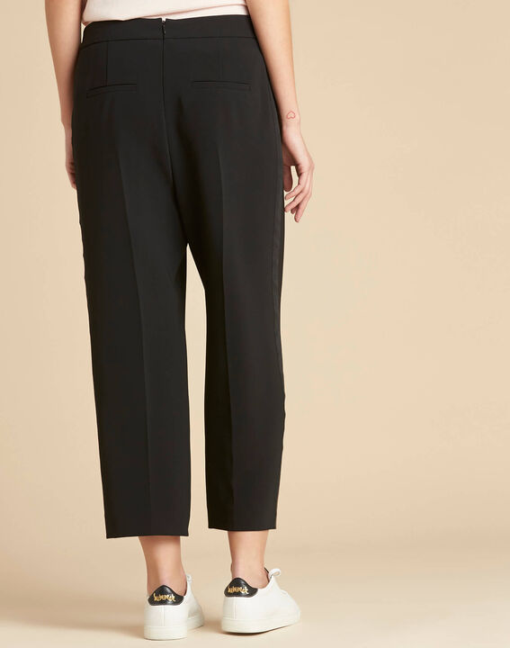 Pantalon noir large 7/8ème microfibre Vada (4) - 1-2-3
