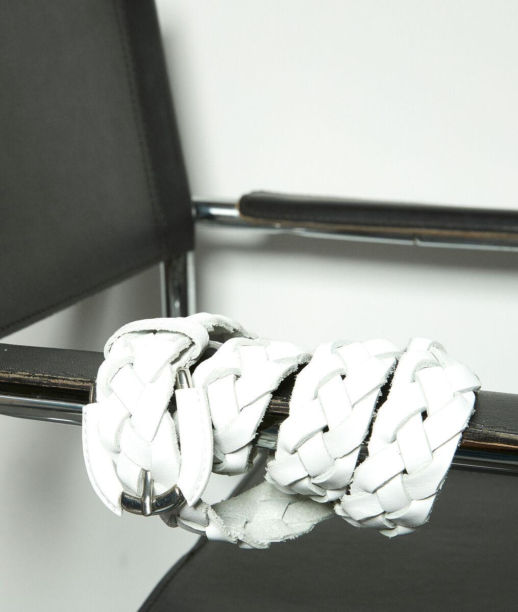 Ceinture tressée en cuir blanc Swan PhotoZ | 1-2-3