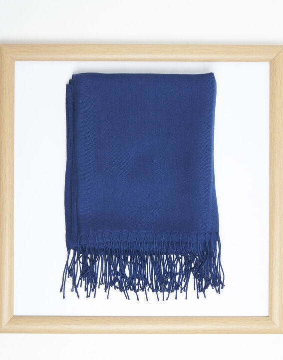 Fossette sapphire viscose fringed scarf  (1) - 1-2-3