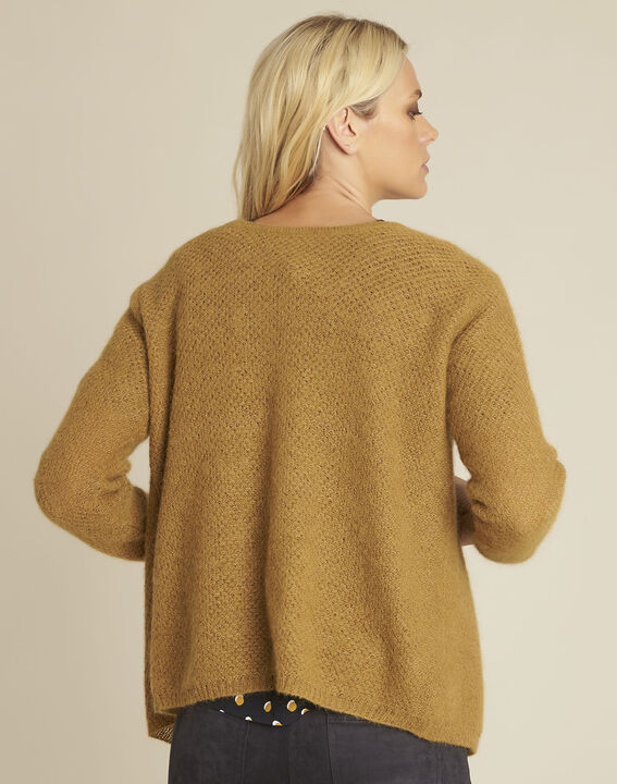 Bonbon yellow mohair mix cardigan (4) - 1-2-3
