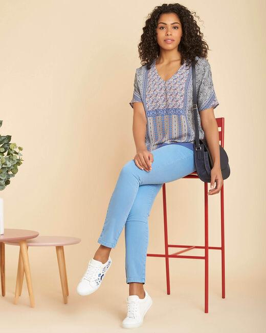 Blauwe verwassen slim fit jeans met normale taille Vendôme (1) - 37653