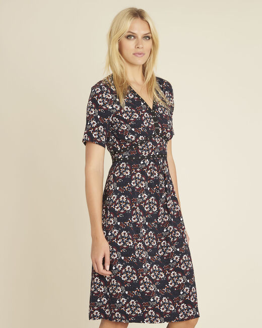 Dina navy blue printed dress with decorative neckline (2) - 1-2-3