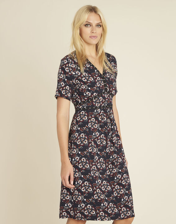 Dina navy blue printed dress with decorative neckline (1) - 1-2-3