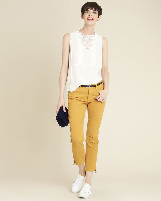 Vendôme 7/8 length slim-cut yellow cotton satin jeans (2) - 1-2-3