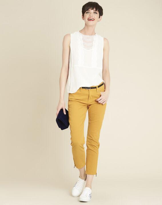 Vendôme 7/8 length slim-cut yellow cotton satin jeans (2) - 1-2-3