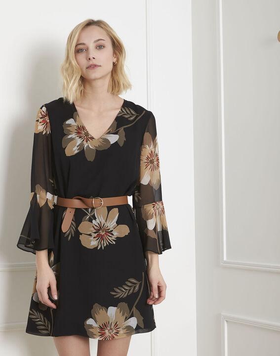 Schwarzes Kleid mit Blumen-Print Astrid (2) - Maison 123