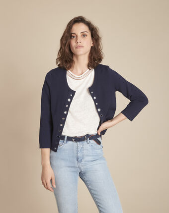 Abricotier navy cardigan with compact eyelets  navy.