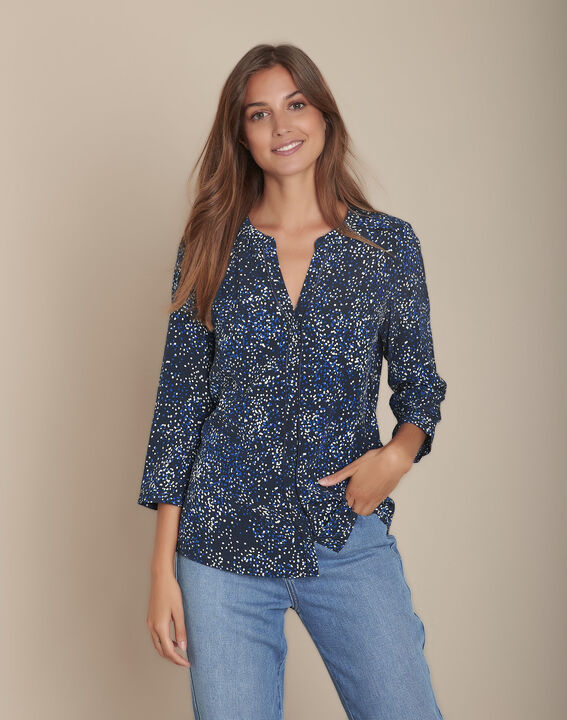 Blouse marine imprimée Arletty PhotoZ | 1-2-3