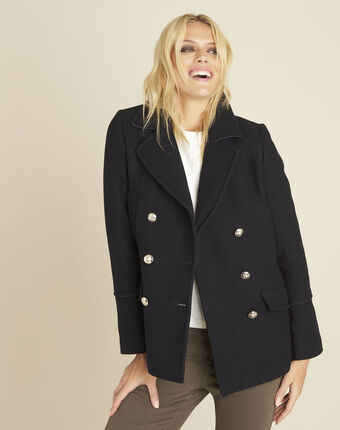 Elliot navy blue parka-style coat navy.
