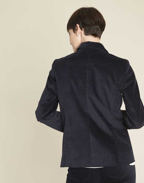 Demoiselle navy velvet polka dot jacket (4) - 1-2-3