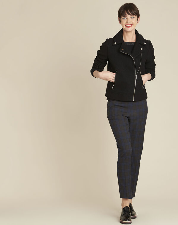 Manteau noir en laine esprit perfecto Edmee (2) - 1-2-3