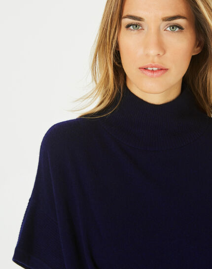 Passiflore navy cashmere cape with polo neck (3) - 1-2-3
