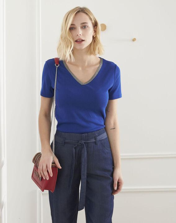 Blaues T-Shirt mit Lurex-Ausschnitt Etincelante (1) - Maison 123
