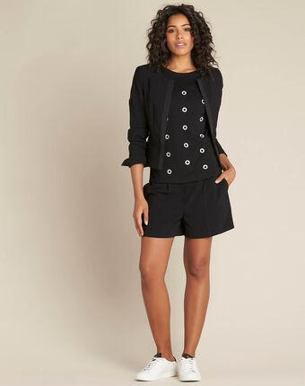 Schwarzes tupfen-t-shirt aus lurex eclair schwarz.